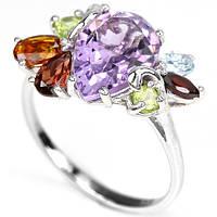 Кольцо серебряное 925 с натуральн. камнями р17.5