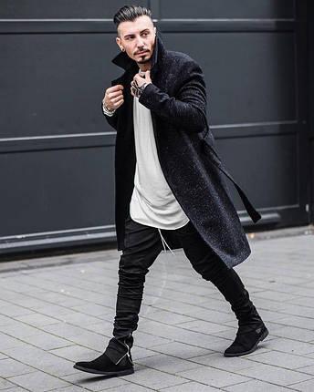 Хлопковые черные зауженные брюки, фото 2