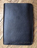 Бумажник, портмоне из натуральной кожи с отделениями для бумажных денег, карточек, чеков и квитанций, черный.