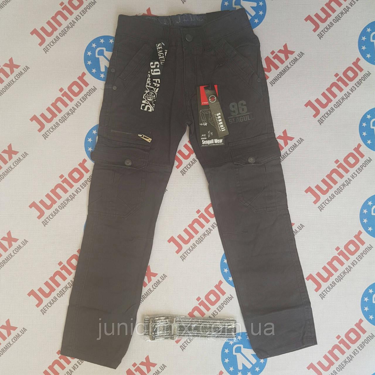 Подростковые котоновые брюки на мальчика в мелкую полоску SEAGULL