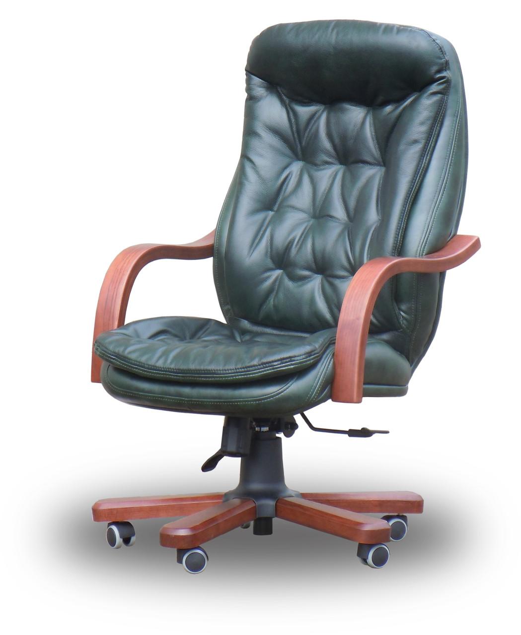 Кресло руководителя Венеция Wood HB кожзам / кожа