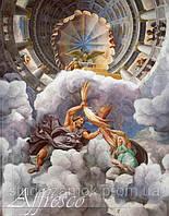 Имитация венецианской штукатурки с художественной росписью. Фреска на потолок артикул 9049