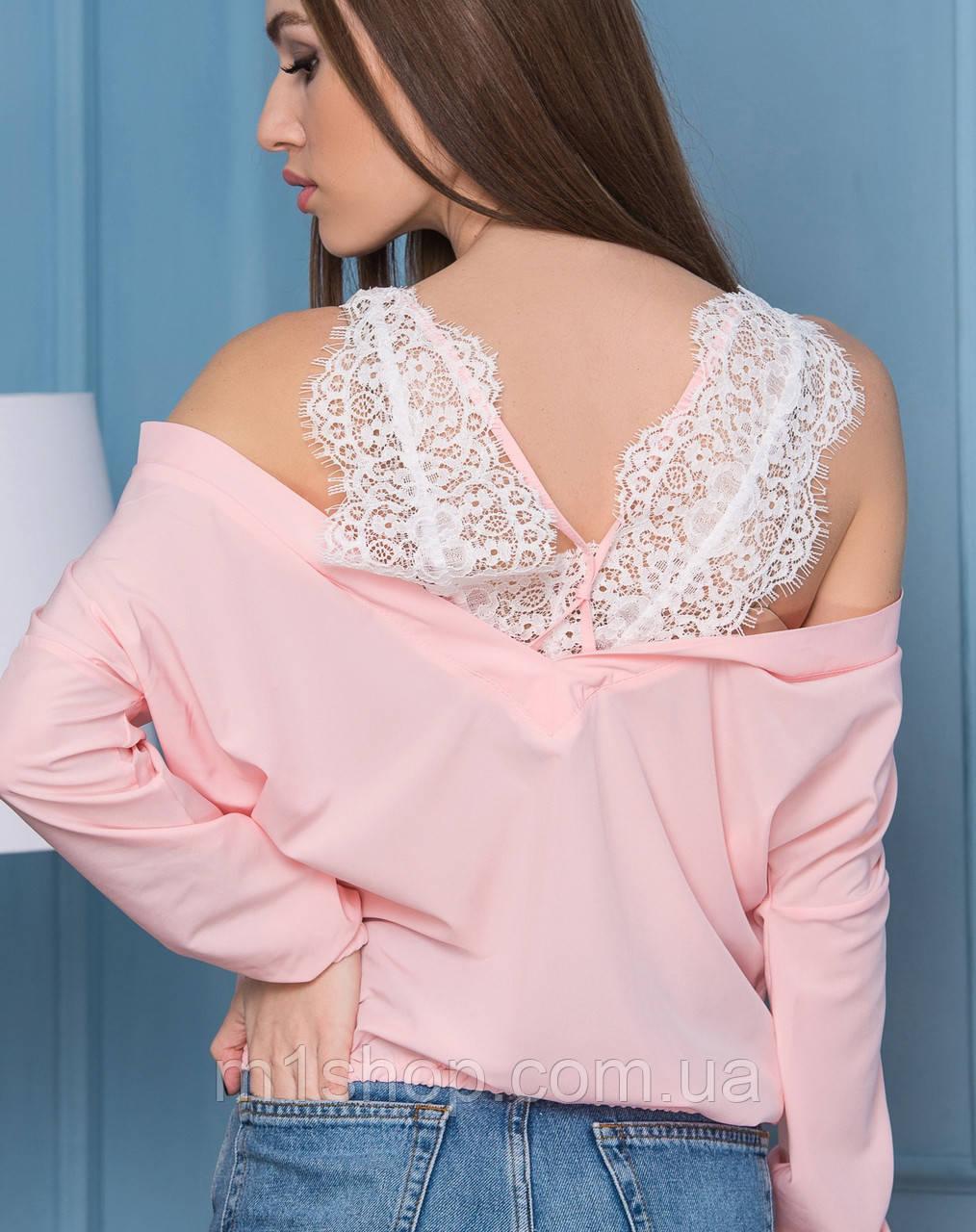 Блузка с кружевом (2112 br)