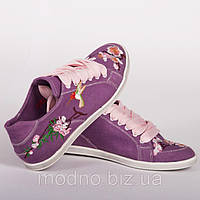 """Кеды """"Сакура колибри"""" IK-105 (фиолетовый), фото 1"""