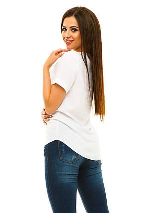 Блузка штапель 323 белая, фото 2