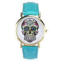 Модные оригинальные женские часы Skull, голубые