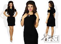 Женское стильное черное прямое платье с открытым плечом. Арт-8552/26