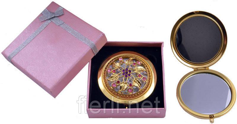 """Зеркальце в подарочной упаковке """"Испания"""" золото №7006-10-5"""