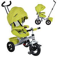 Деский трехколесны велосипед M 3194A кол.рез (12/10) колясоч.поворот, фиксир.пед, рем.безоп., торм.звон, зелен