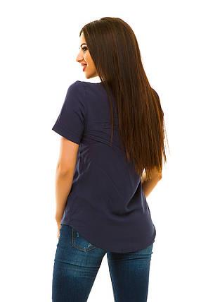 Блузка штапель 323 темно-синий, фото 2