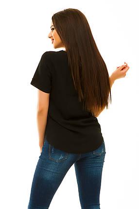 Блузка штапель 323 черная, фото 2