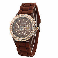 Модные стильные женские часы Geneva Luxury Crystal со стразами,силиконовый ремешок , коричневые