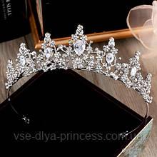 Корона для девочки, диадема, тиара в серебре, высота 4 см.