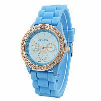 Модные стильные женские часы Geneva Luxury Crystal со стразами,силиконовый ремешок , голубые