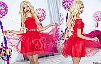 Короткое коктейльное вечернее платье с гипюром. 4 цвета!