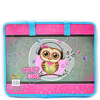 Сумка портфель на молнии с тканевыми ручками Kidis littel owl