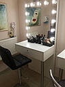 Стол гримерный для макияжа на железных ножках, зеркало без рамы с подсветкой, фото 2