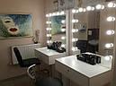 Стол гримерный для макияжа на железных ножках, зеркало без рамы с подсветкой, фото 3