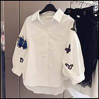 Женская белая хлопковая рубашка с вышивкой