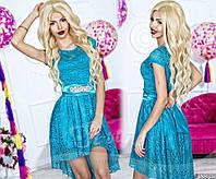 Короткое коктейльное вечернее платье с гипюром. 7 цветов!