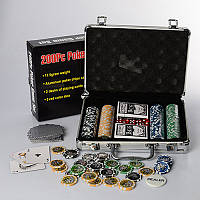 Набор для покера M 2779, 200 фишек (11,5г-с номин), 2 кол.карт, кубик, в чемодане(алюм), 30-20-8см