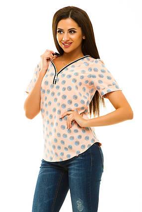Блузка  323 персиковая принт, фото 2