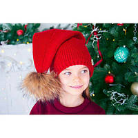 Детская шапка-колпак с енотовым бубоном (разные цвета)