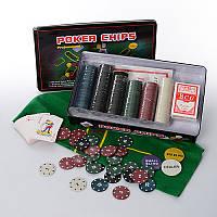 Настольная игра покер M 2776, 300 фиш(с номин-5вид,пласт),2к.карт, сукно, в кор-ке(жел), 33-19-5см
