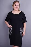 Ибица. Женское платье больших размеров. Черный. 50