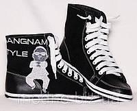 """Высокие женские кеды """"Gangnam style"""" IK-194 (черный), фото 1"""