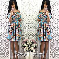 Короткое пышное платье с открытыми плечами