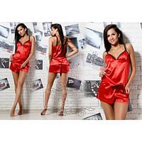 Комплект из шелк-атласа майка + шортики цвет красный
