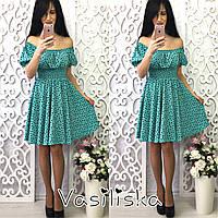 Короткое женское мини платье с принтом