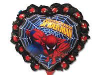 """Шарик детский в форме сердца  фольгированные  в стиле  """" Человек паук"""""""