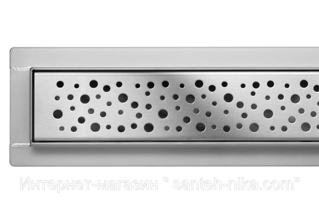 Трап для душа, душевой трап Poland Lux серия из пищевой нержавеющей стали 80 см линейный узор КАПЛИ