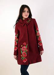 """Женское пальто кашемир """"Букет маков"""" с красочной вышивкой"""