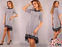 Вечернее асимметричное платье с французским кружевом