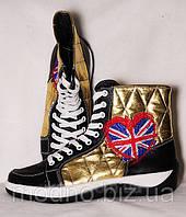"""Высокие женские кеды """"Англия"""" IK-203 (черный+золото), фото 1"""