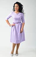 Красивое пышное платье под пояс, сиреневого цвета, длины миди