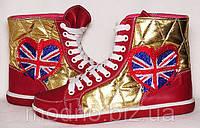 """Высокие женские кеды """"Англия"""" IK-204 (красный+золото), фото 1"""