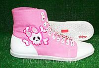 """Высокие женские кеды """"Бантик"""" IK-159 (розовый+белый), фото 1"""