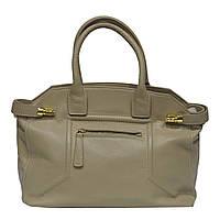 Женская  сумка из натуральной кожи фабричная (отшита  в Италии) бежевого цвета, на две ручки,одно отделение