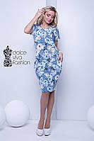 Летнее повседневное платье с цветочным принтом код 1702-2