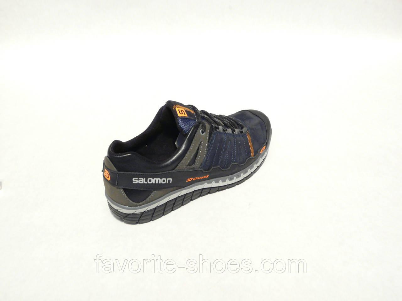 Кожаные мужские кроссовки Salomon 3D син. 42р.
