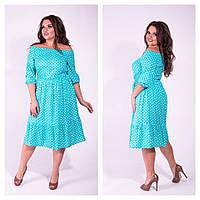 Женское летнее платье в горошек большие размеры