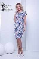 Летнее повседневное платье с цветочным принтом код 1702-3
