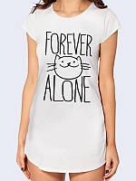 """Женская трикотажная туника """"Forever alone"""" с оригинальным рисунком белого цвета из хлопка на лето."""
