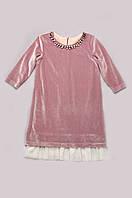 Платье из бархата для девочки розовый кварц LikeMe размер 120-140