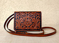 Кожаная маленькая женская сумочка, тиснение, натуральная кожа, ручная работа