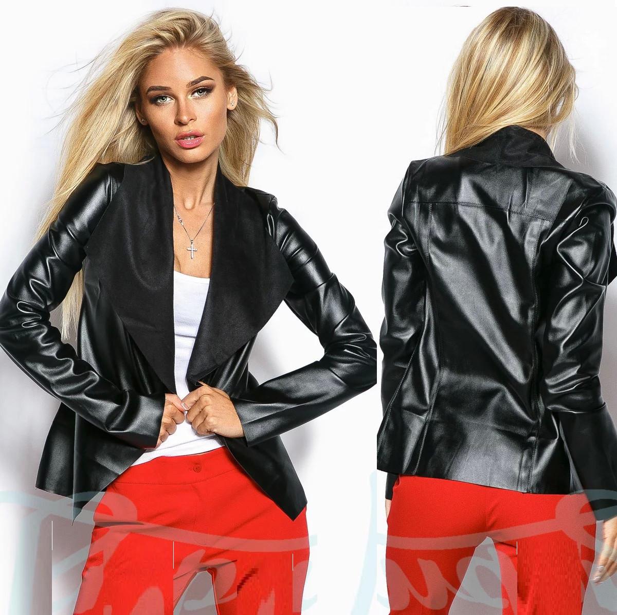 Пиджак женский из качественной экокожи Gr  17400  Черный